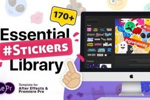 AE+Premiere模板预设:174组卡通面部表情美颜装饰标签贴纸动画 Essential Stickers Library