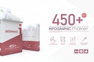 AE模板-450+扁平化商务信息图表UI数据图动画工具包  Infographic Maker