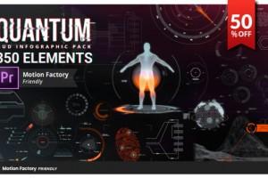 Premiere预设:350组高科技HUD信息动态元素包 Quantum HUD and HiTech Elements for Premiere Pro