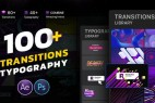 AE模板-100+创意时尚转场文字标题排版动画Transitions Typography Library