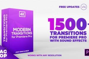 PR模板:1500组移动RGB色彩分离信号扭曲抖动Premiere视频转场V14
