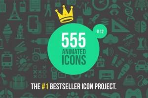 AE模板-555个扁平化ICON图标MG动画V12+音效 555 Animated Icons