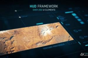 AE模板-200+简洁HUD科技感UI界面图表按钮元素动画 HUD - Framework 4K