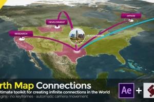 AE模板-三维世界地图地址定点连线动画工具 v2.1