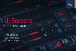AI+AE模板-科技感HUD屏幕界面元素动画