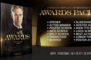 AE模板-金色粒子公司企业活动颁奖典礼栏目包装片头介绍 The Awards Pack II