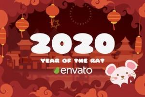 AE模板-喜庆可爱卡通图形风格2020新春鼠年片头 Chinese New Year