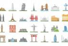 AE模板-100个世界旅游景点地标扁平化IOCN图标MG动画