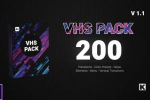 AE模板-200组VHS复古视频特效转场预设元素动画