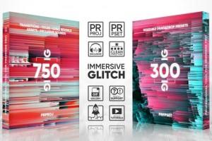 PR模板预设-1000+信号损坏科技感毛刺视频转场文字标题动画素材