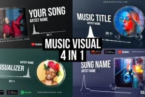 AE模板-音频可视化场景特效动画 Glass Audio React Music Visualizer