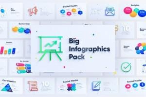 AE模板+PR预设-90组清新时尚三维信息数据柱状图商务统计图表动画
