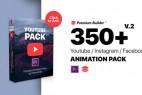 AE/PR脚本模板预设-350组网络视频文字标题字幕条转场图形动画V2