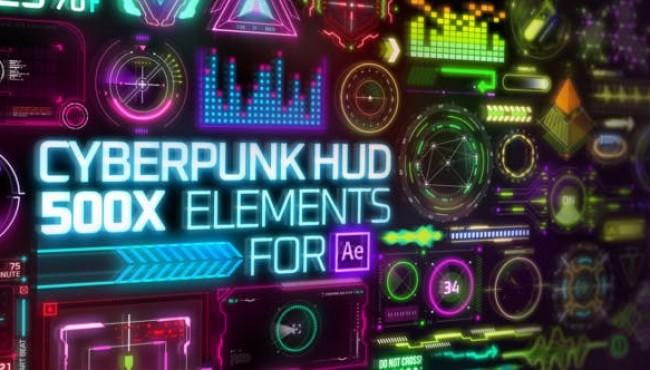 AE脚本-500+未来科幻赛博朋克科技感UI元素动画 Cyberpunk HUD Elements