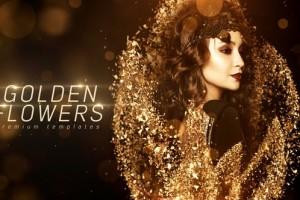 AE模板-金色光效破碎群集粒子图文介绍活动颁奖开场片头 Golden Flowers