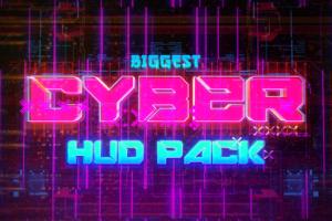 AE模板-赛博朋克科幻HUD信号损坏文字标题背景元素动画 Cyberpunk