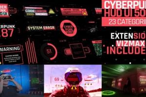 AE脚本-500+赛博朋克科技感HUD用户界面动画预设 Cyberpunk UI