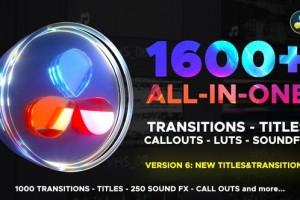 1600组达芬奇无缝转场视频调色LUTS预设V6 摄像机聚焦扭曲冲击光效等