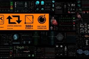 AE模板-300组医疗生物科幻HUD动画UI界面元素