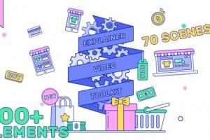 AE模板-800+现代时尚线条MG动画人物角色场景介绍片头元素包V2
