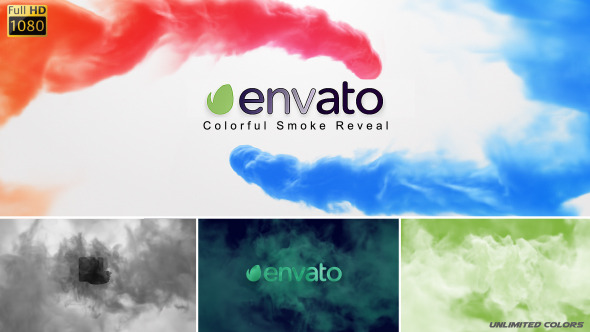 AE模板-彩色水墨烟雾LOGO展示 VideoHive Colorful Smoke Reveal