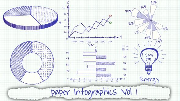 AE模板-手绘图表信息展示 VideoHive Paper Infographics Vol 1