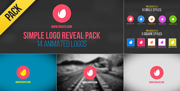 AE模版-14组Motion扁平化动画Logo展示Videohive Simple Logo Reveal Pack