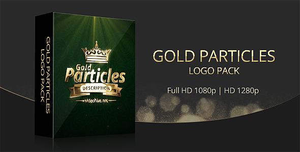 AE模版:5款时尚金色粒子汇聚LOGO标志 Gold Particles Logo Pack