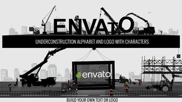 AE模版:建筑工地场景LOGO展示 Logo Constructor-Alphabet Builder With Characters