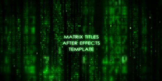 AE模版:电影《黑客帝国》科技感文字动画片头效果 MatrixTitle