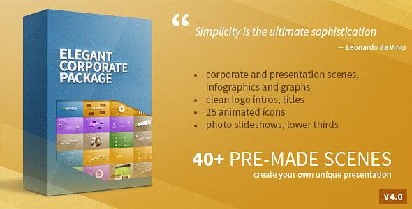 AE模版:优雅公司企业形象包装信息展示动画元素合集包