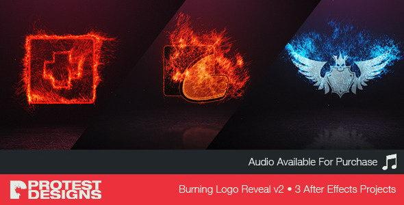AE模板:火焰燃烧LOGO标志展示片头 Burning Logo Reveal v2