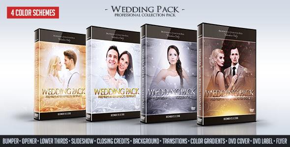 AE模版:4色唯美粒子效果婚礼包装动画  Wedding Pack 12071574