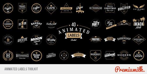 AE模版:标签徽章MG动画工具包 Animated Labels Toolkit