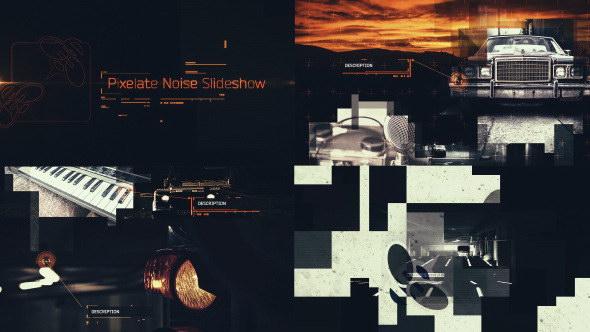 AE模版: 创意高科技现代化画面故障幻灯片栏目包装 Pixelate Noise Slideshow 9819412