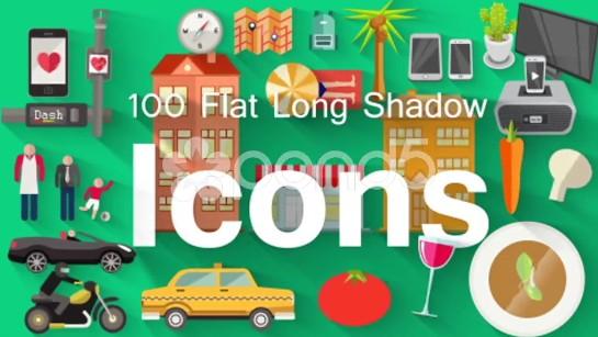 AE模版:100组长阴影拖尾平面 Icons 图标动画元素包 免费下载