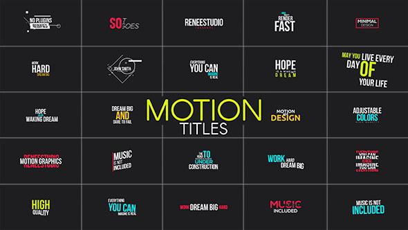 ae模版:105组时尚简洁文字标题个性排版动画合集 motion titles