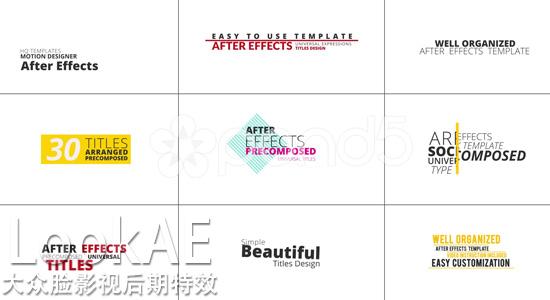 ae模板:30组文字标题排版动画效果