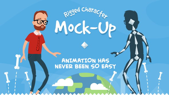 ae模板-自定义二维mg动画卡通人物角色自动绑定映射 人物动作 免费