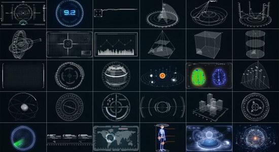 AE模板:30个超酷复杂HUD高科技元素动画 地球雷达数据银河系数据面板