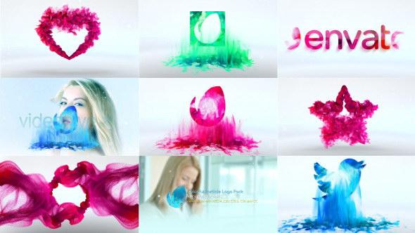 ae模板:6种彩色水墨粒子流动 logo 片头展示 ae模板:超级炫酷火焰烟雾
