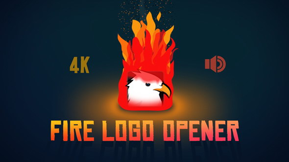 AE模板:火焰燃烧 LOGO 标志片头展示MG动画效果 Fire Logo Opener 4K分辨率