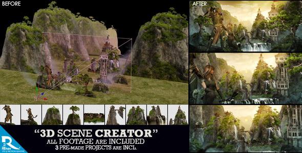 AE模板:3D图层三维空间场景创建动画展示工具包 3D Scene Creator Kit