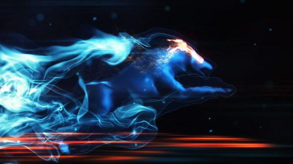 AE模板:狼奔跑炫酷粒子发散拖尾 LOGO 标志展示片头效果 Mystic Wolf Reveal
