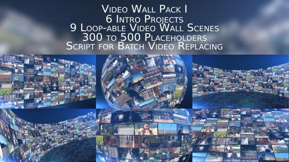 AE模板:动感多屏视频电视墙效果包装展示 Video Wall Pack I