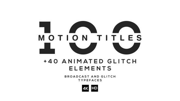AE模板-100组高科技数字故障企业动态人名介绍字幕条文字动画排版模板 100 Titles Ultimate Pack
