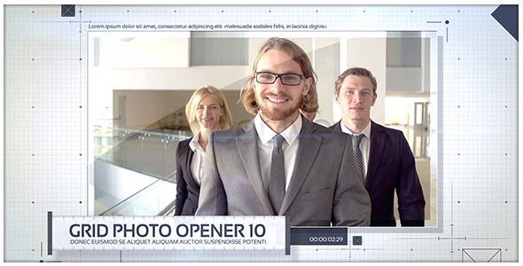 AE模板:网格线条公司企业宣传介绍栏目包装 Grid Photo Opener - Corporate Slideshow