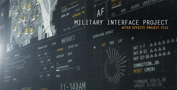 AE模板:高科技HUD军事科技UI界面动画元素 HUD Military Interface Project