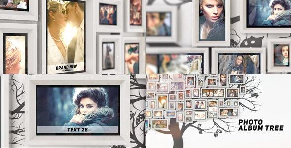 AE模板:电子相框相册多图片展示效果 Photo Album Tree