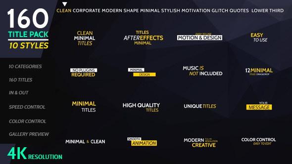 AE模板:160种不同风格文字标题排版动画 160 Titles Pack Different Styles